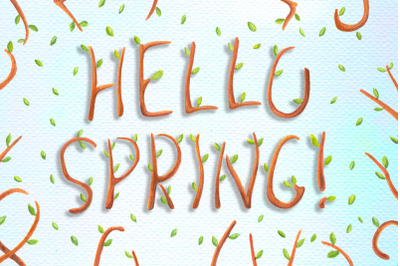 Spring Tree Alphabet Watercolor Letters Clipart