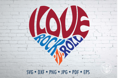 I love rock n roll heart, Svg Dxf Eps Png Jpg, Cut file