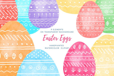 Set of painted Easter eggs with white hand-drawing pattern.