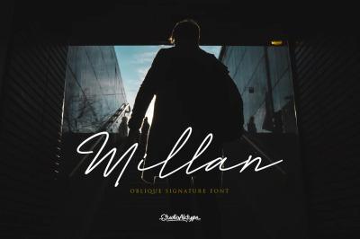 Millan   Oblique Signature Font  