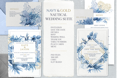 Navy & Gold Nautical Wedding Suite