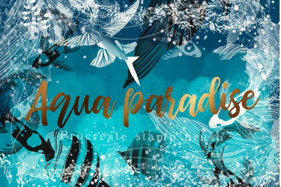 Aqua paradise procreate stamp brush