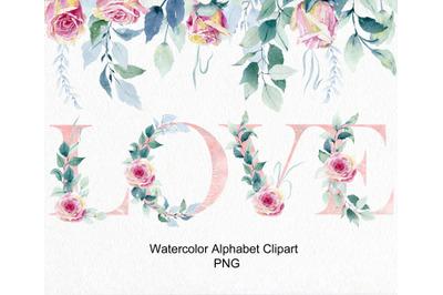 Watercolor alphabet clipart.