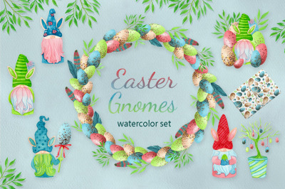 Watercolor easter gnomes collection