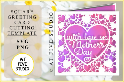 With Love on Mothers Day SVG PNG Greetings Card Papercutting Template