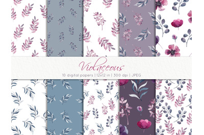 Watercolor seamless floral patterns