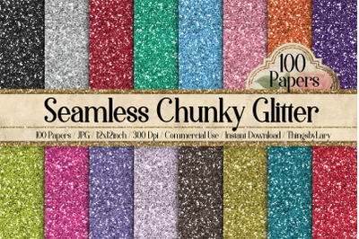 100 Seamless Chunky Real Glitter Sequin Digital Papers