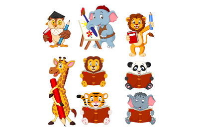 Cartoon cute animal collection set holding book and pencil