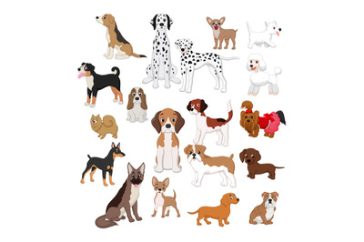 Cartoon cute dogs collection set