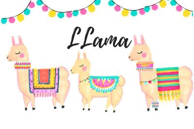 Watercolor Llama clip art
