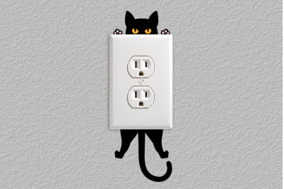 Hanging Cat Light Switch and Outlet Decoration | SVG | PNG | DXF | EPS
