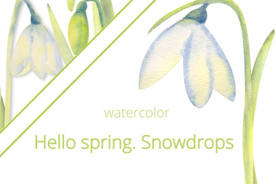 Hello, spring! Romantic frames with snowdrops . Set 1