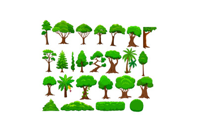 Set of cartoon trees and bushes