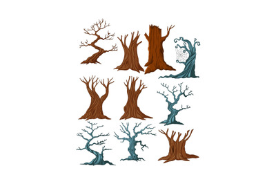 Set of cartoon dry trees collection set