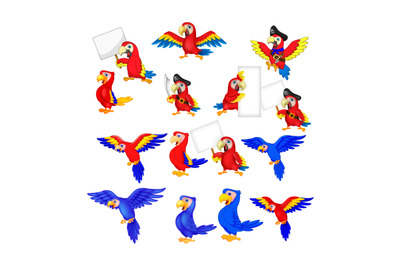 Cartoon funny macaw flying collection set