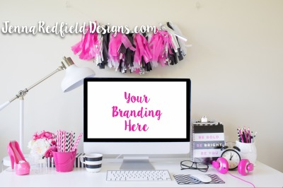 Hot Pink Desktop Styled Stock Photo