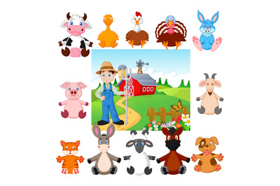 Cartoon cute people and farm animal collection set