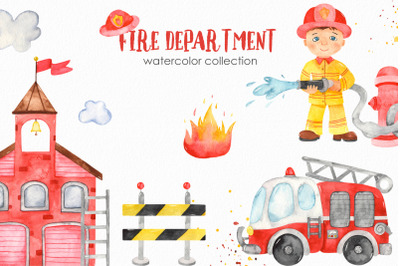 Watercolor Fire Department. Clipart, premade cards, seamless patterns