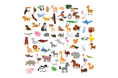 Animals cute collection set