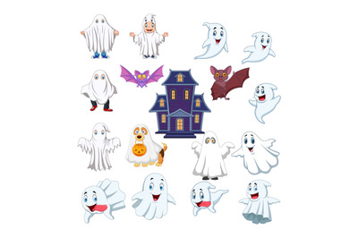 Cartoon kid  house with ghost costume halloween collection set
