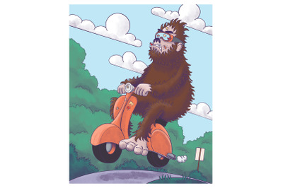 Bigfoot on a Scooter