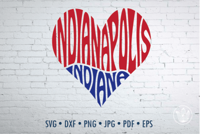 Indianapolis Indiana heart, Svg Dxf Eps Png Jpg, Cut file