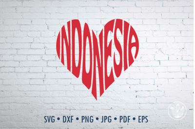 Indonesia heart, Svg Dxf Eps Png Jpg, Cut file