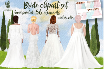 Wedding dress clipart Plus size brides Bride Illustration