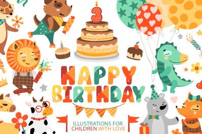 Happy Birthday. Kids illustrations.