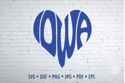 Iowa heart, Svg Dxf Eps Png Jpg, Cut file