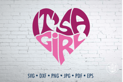 It's a girl Word Art, Svg Dxf Eps Png Jpg, Gender reveal