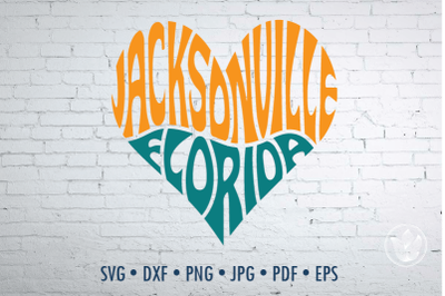 Jacksonville Florida heart, Svg Dxf Eps Png Jpg, Cut file