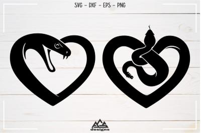 Love Heart SNAKE Svg Design
