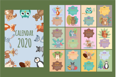 Calendar for 2020. Forest and animals.