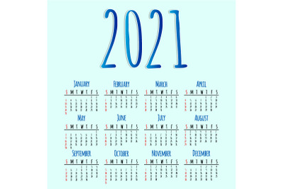 Calendar for 2021. EPS, AI, JPEG
