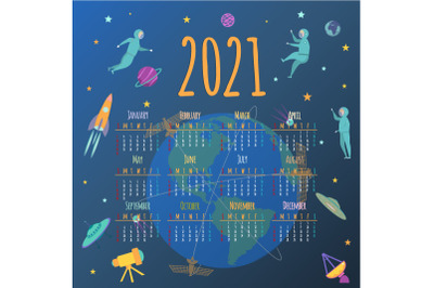Calendar about space. People in Arbit of the Earth 2021. EPS, AI, JPEG
