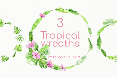 Tropical Summer Floral Wreath Watercolor Set with Pink flowers