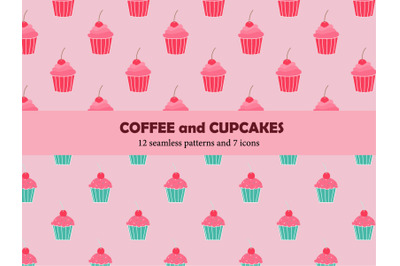 Coffee mugs and cupcakes seamless repeat pattern