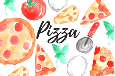 Watercolor pizza clip art