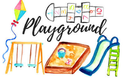 Watercolor playground clip art