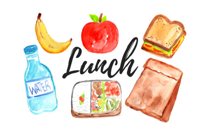 Watercolor lunch clip art