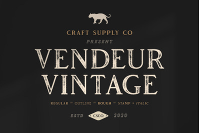 Vendeur Vintage Font Family + Extras