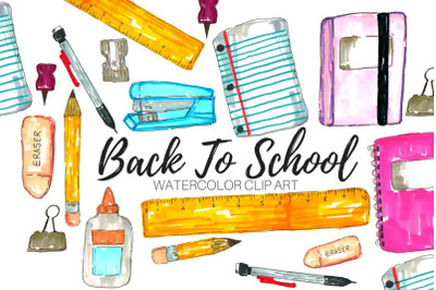 Watercolor school supplies clip art