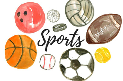 Watercolor sports ball clip art