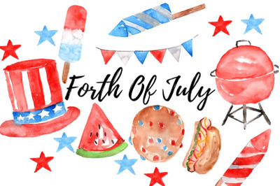 Watercolor forth of july clip art