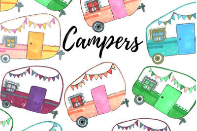 Hand drawn camper clip art