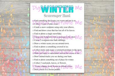 Winter Scavenger Hunt Printable, Kids Activity, indoor outdoor Game, D