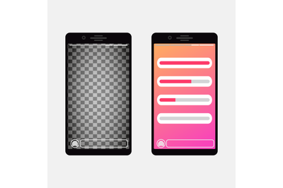 Smartphone template social media page with slider bar for interface