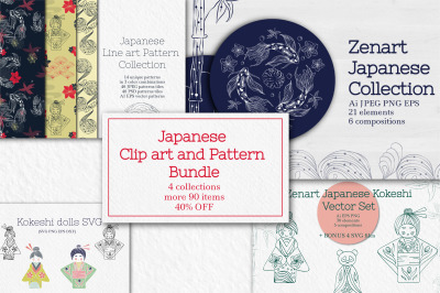 Japanese Clipart and Pattern Bundle  40% OFF