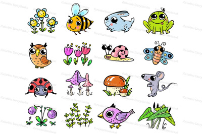 Set of cute forest or woodland animals and plant elements